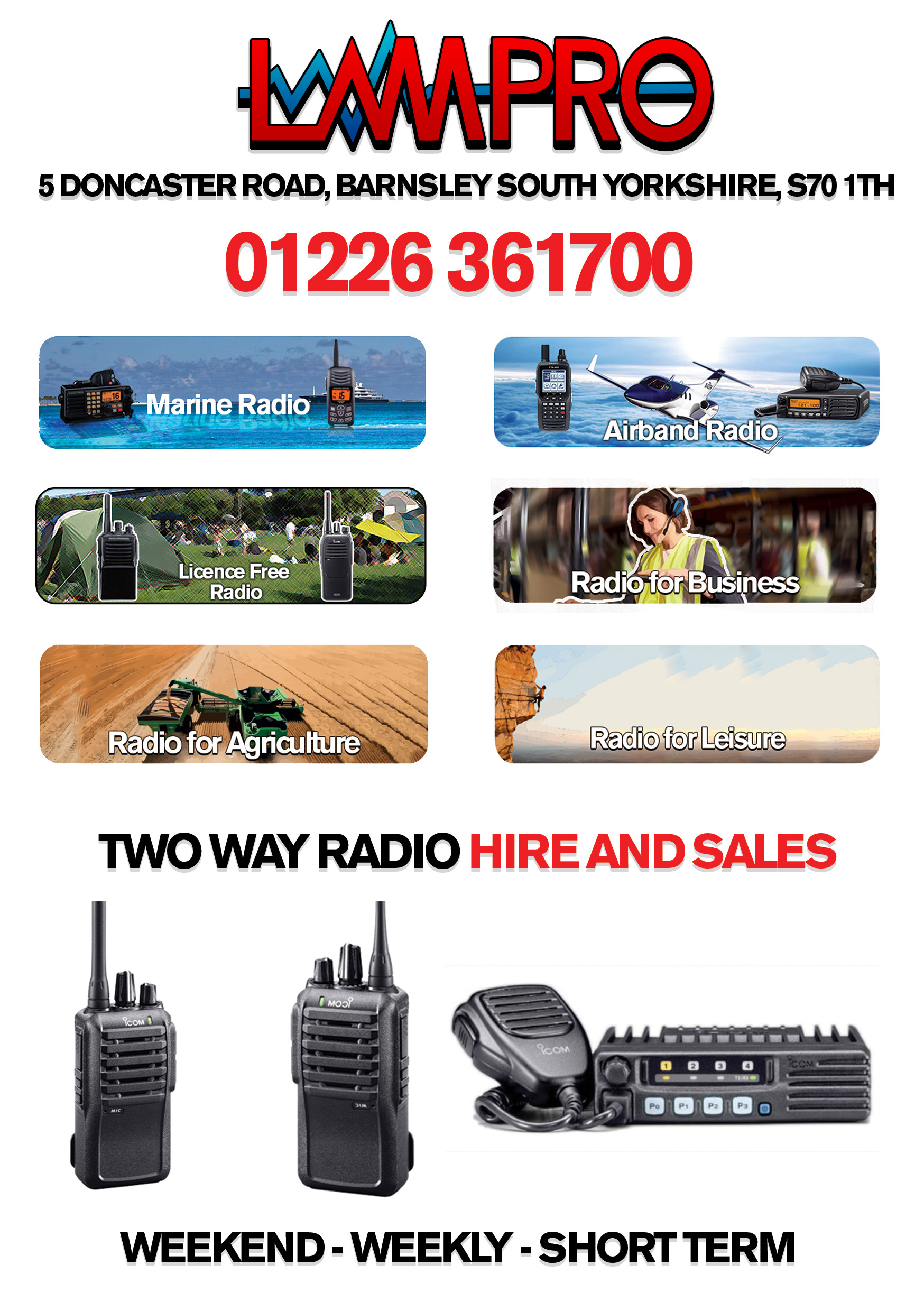 Two Way Radio Hire Sales Marine Aviation Business Schools Farming Sport Icom Kenwood Hytera Barnsley South Yorkshire UK Call 01226 361700